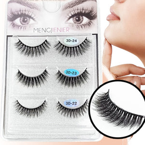 3 different High Volume Lightweight False Lashes (3D2B)