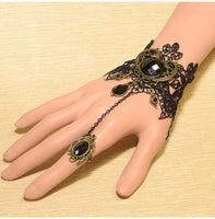 Black Embellished Carved Design Hand Harness / bracelet - Ohmykitty Online Store