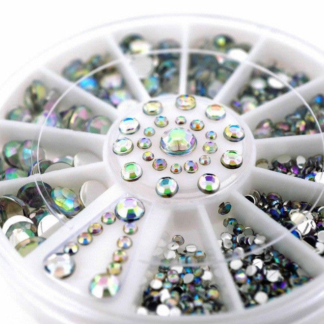 White Multicolor Nail Art Decoration Rhinestones (5 stone sizes)
