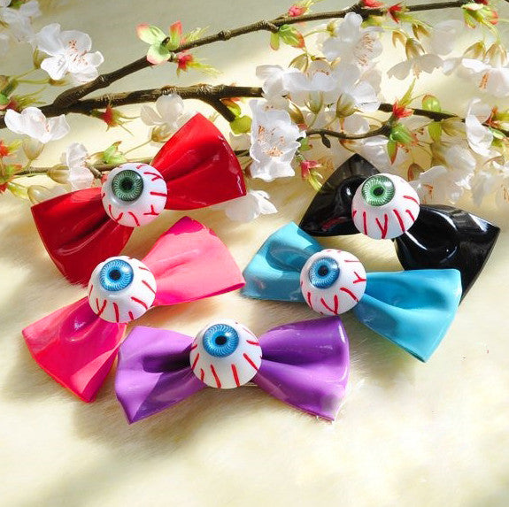 Eyeball Mini Bow Hair Clip
