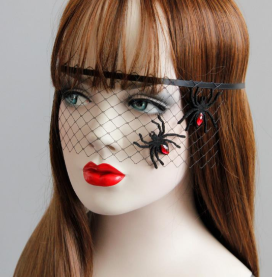 Halloween princess black net veil with spider jewelry - Ohmykitty Online Store