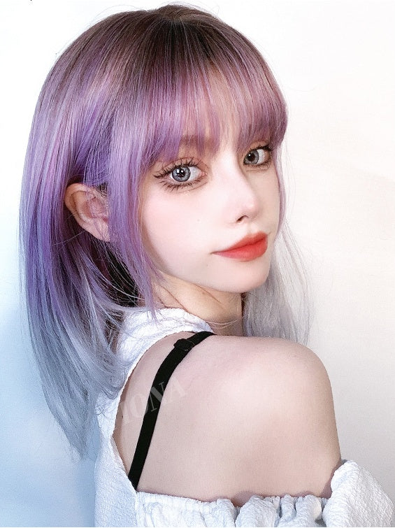 Lisa (37cm Purple Silver Gradient Shoulder Lengh Hair) - Natural Wig