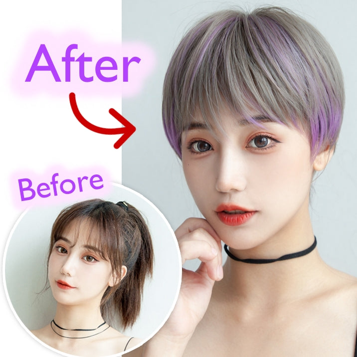 Mia (25cm Misty Gray with Purple Highlight Short Hair) - Natural Wig