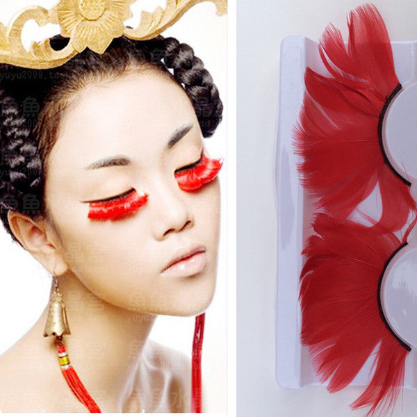 Red Feather Eyelashes (Halloween / Stage effect) - Ohmykitty Online Store