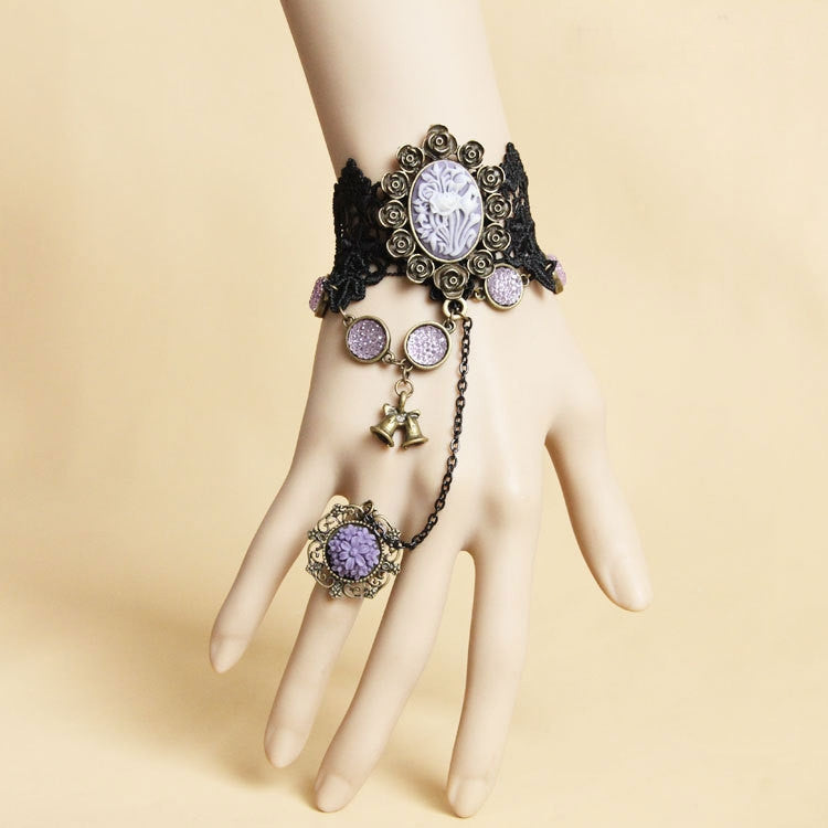 Purple Vintage style Gothic Hand Harness / bracelet + Ring