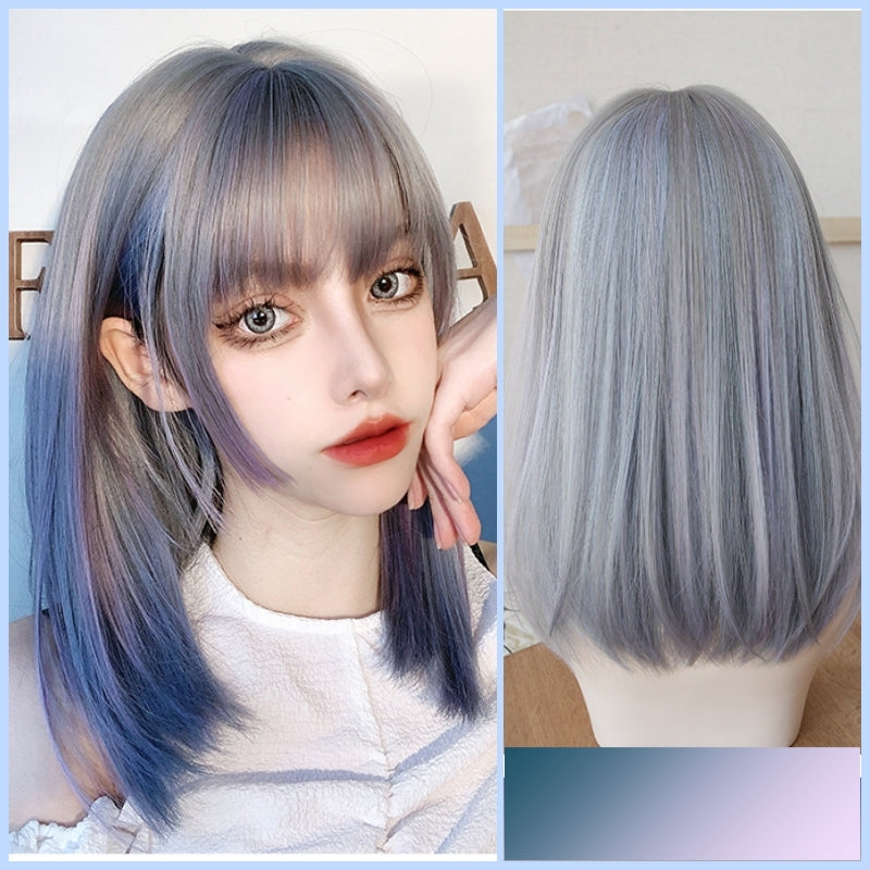 Estelle (45cm Long Straight Ash with Gradient Blue Highlight) - Natural Wig