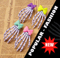 Harajuku Skeleton Hand Hair Clips (with cute bow)