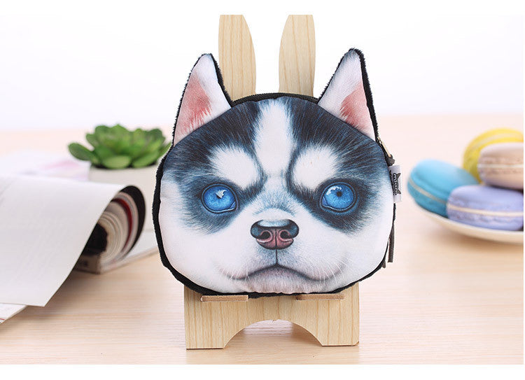 Dog Coin Zipper Pouch (Baby Husky)