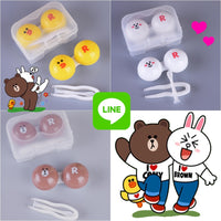 Cute Line Friends Lens Case (Brown, Cony & Sally) - Ohmykitty Online Store