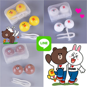 Cute Line Friends Lens Case (Brown, Cony & Sally)