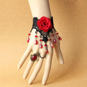 Red Vintage style Lace flower Hand Harness / bracelet - Ohmykitty Online Store