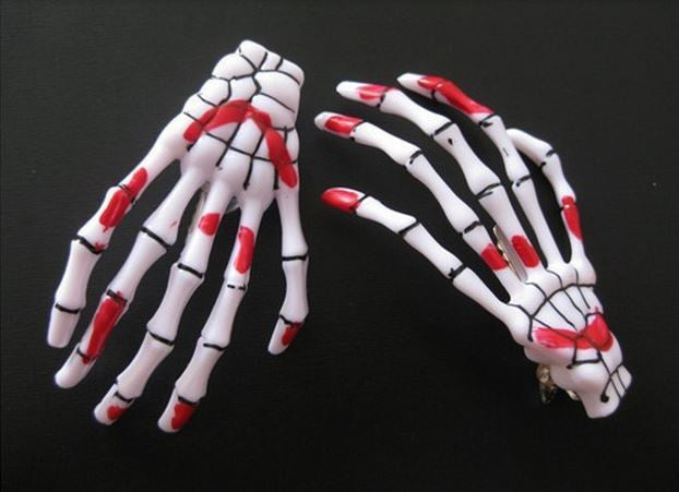 Harajuku Skeleton Hand Hair Clips (1 Piece) - Ohmykitty Online Store