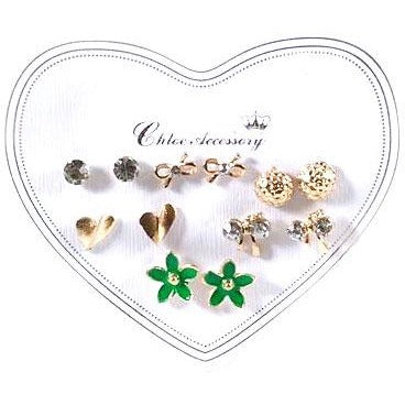 6 Pair Flower & Bow Stud Earring Set