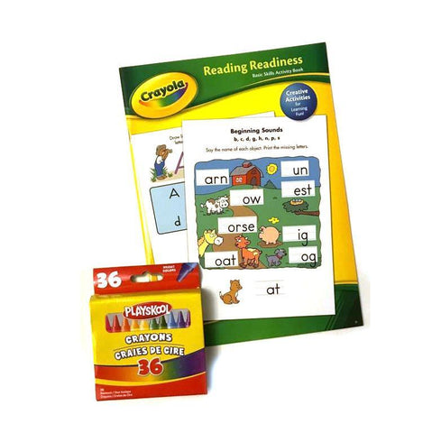 Crayola Basic Skills Activity Book & Playskool Crayons Bundle
