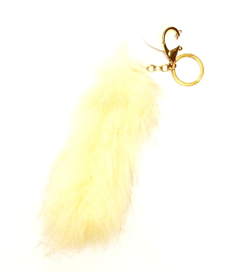 Faux Plush Tail Keychain - Cream