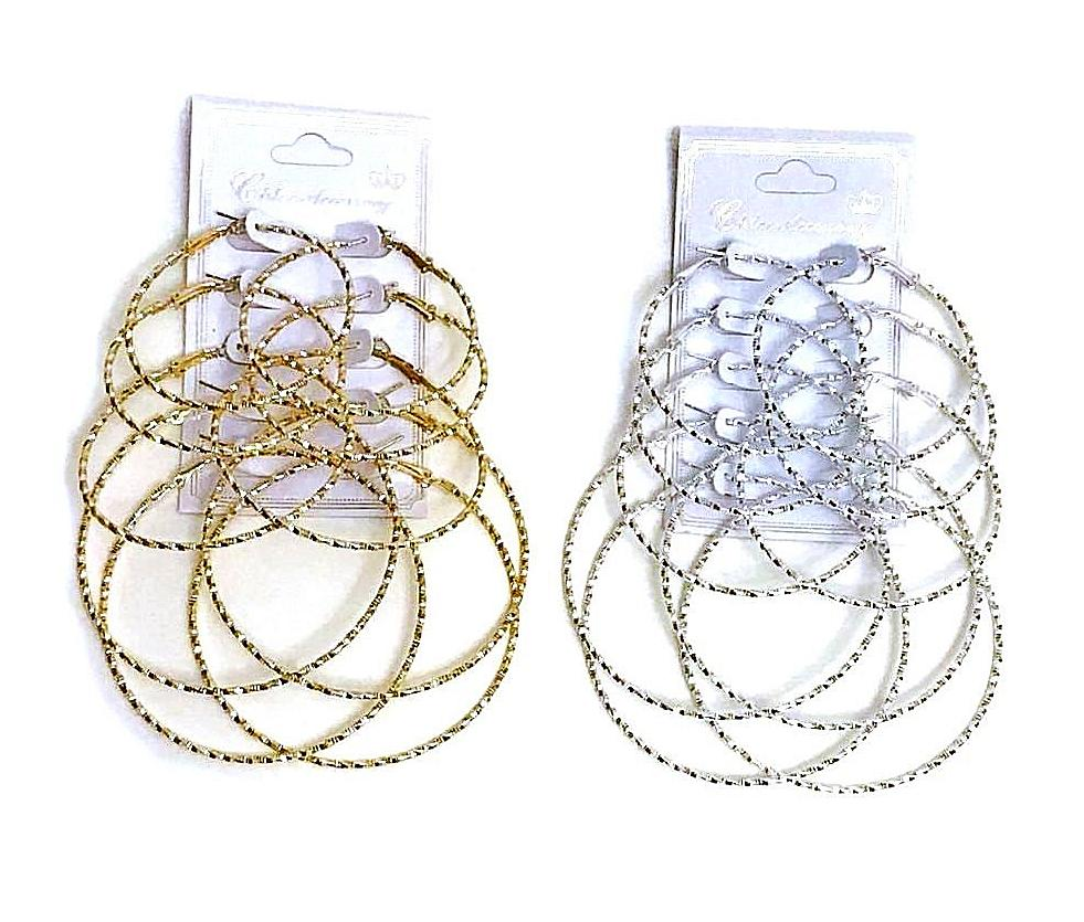 Gold & Silver 5 Pair Textured Hoop Earrings Bundle