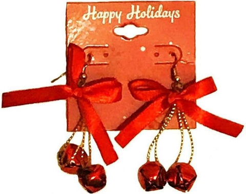 Holiday Red Ribbon Bell Earrings