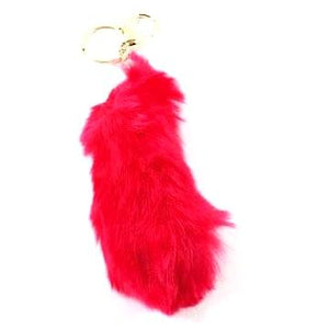 Soft Faux Fur Tail Keychain - Red