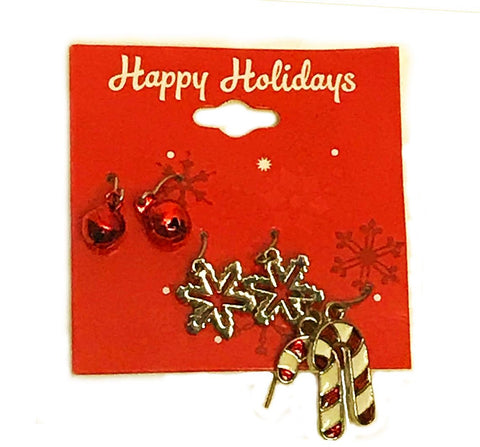 3 Piece Bells Snow and Candy Cane Earrings