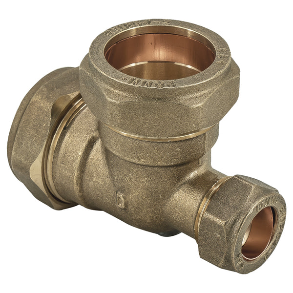 28mm x 15mm x 28mm Compression Reducing Tee - Plumbing and Heating Supplies UK