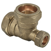 22mm x 15mm x 22mm Compression Reducing Tee - Plumbing and Heating Supplies UK