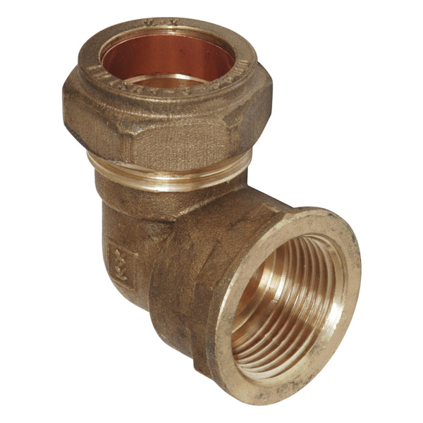 "3/4"" x 15mm Compression Bent Female Iron Elbow 90 Degree - Plumbing and Heating Supplies UK"