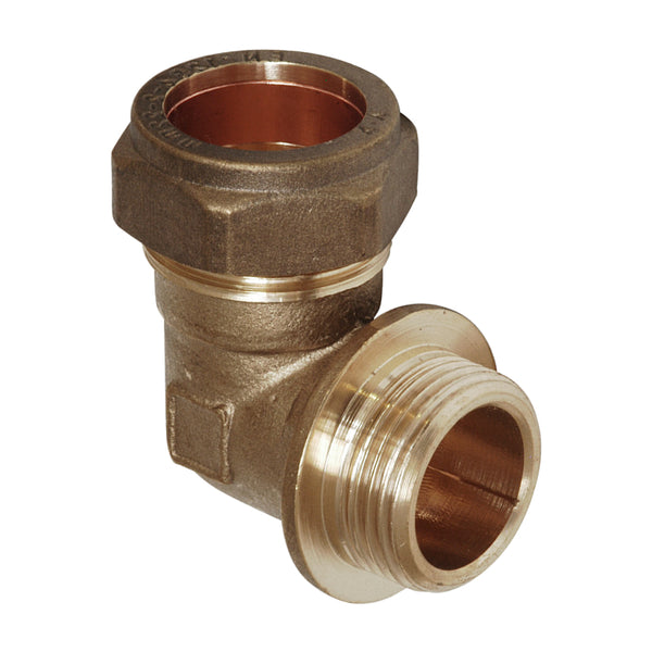 "3/4"" x 22mm Compression Bent Male Iron Elbow - 90 Degree - Plumbing and Heating Supplies UK"