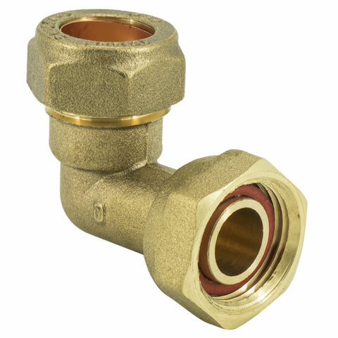 "3/4"" x 22mm Compression Bent Tap Connector - 90 degree - Plumbing and Heating Supplies UK"