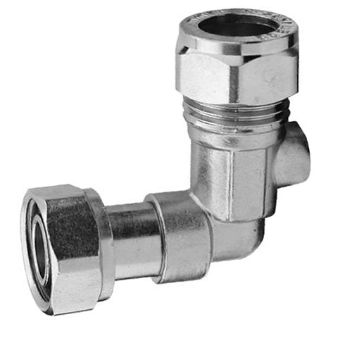 "1/2"" x 15mm Compression Chrome Bent Service Valve - 90 Degree"