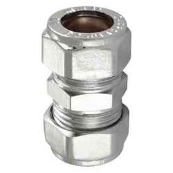 22mm Chrome Compression Straight Coupler's - Plumbing and Heating Supplies UK