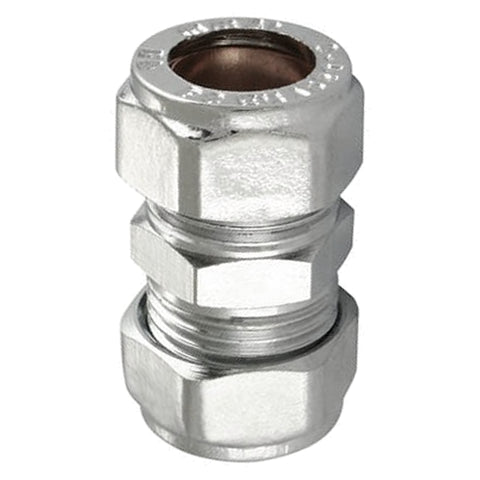 28mm Chrome Compression Straight Coupler's - Plumbing and Heating Supplies UK
