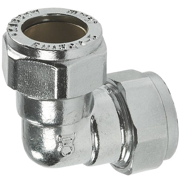 15mm Chrome Compression 90 Degree Elbows - Plumbing and Heating Supplies UK