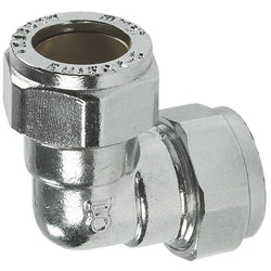 22mm Chrome Compression 90 Degree Elbows - Plumbing and Heating Supplies UK