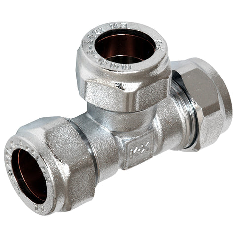 35mm Chrome Compression Equal Tee - Plumbing and Heating Supplies UK