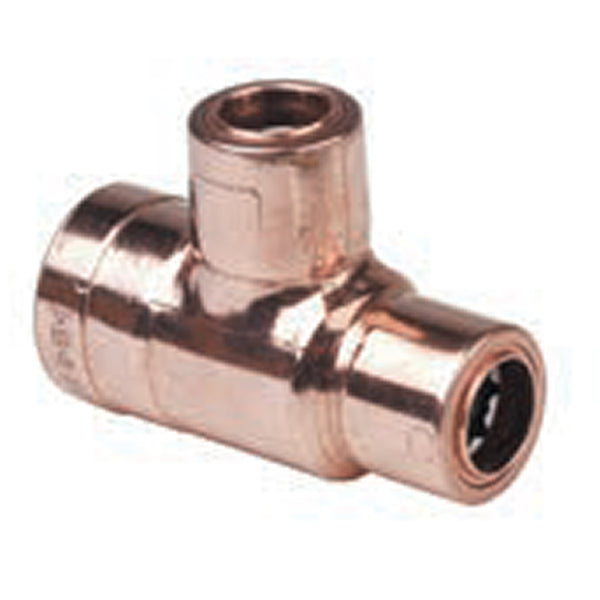 22mm x 15mm x 15mm Copper Push Fit Reducing Tees - Plumbing and Heating Supplies UK