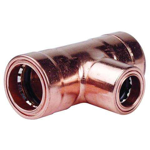 28mm x 28mm x 22mm Copper Push Fit Reducing Tees - Plumbing and Heating Supplies UK