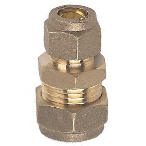 10mm x 8mm Compression Reducing Straight Coupler - Plumbing and Heating Supplies UK