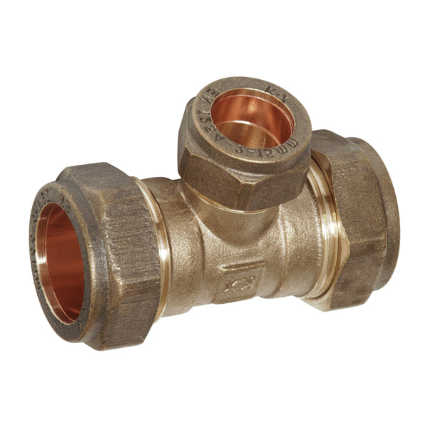 15mm x 15mm x 10mm Compression Reducing Tee - Plumbing and Heating Supplies UK