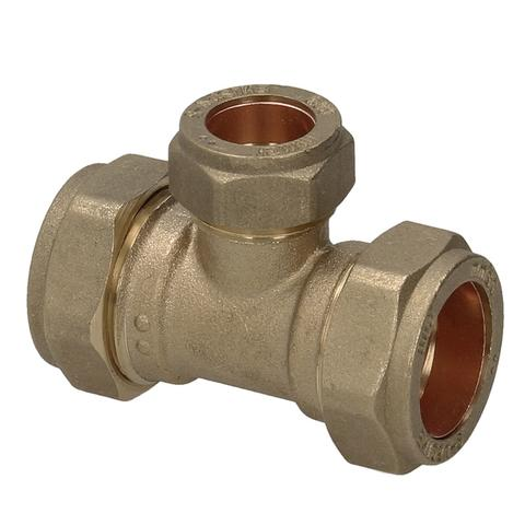 28mm x 28mm x 15mm Compression Reducing Tee - Plumbing and Heating Supplies UK