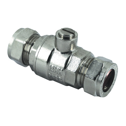 15mm Compression Chrome Full Bore Isolation Valves - Plumbing and Heating Supplies UK