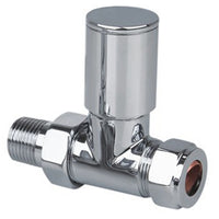 "Chrome Straight Radiator Valve - 1/2"" x 15mm - Plumbing and Heating Supplies UK"
