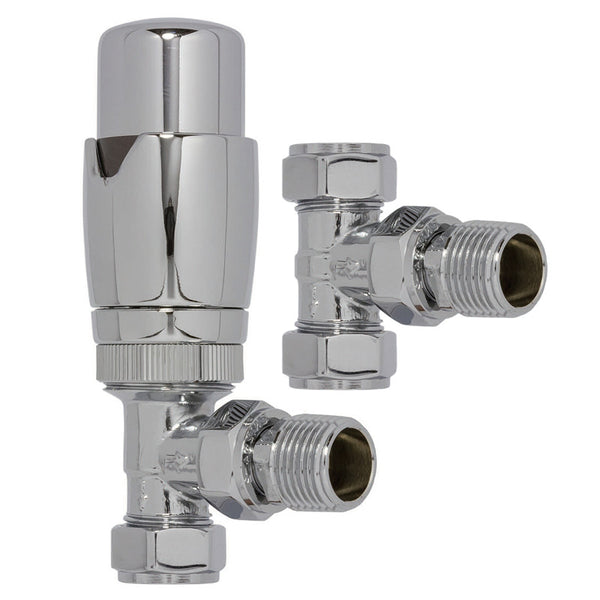 Chrome TRV Thermostatic Angled Radiator Valve and Lockshield Pack - Plumbing and Heating Supplies UK