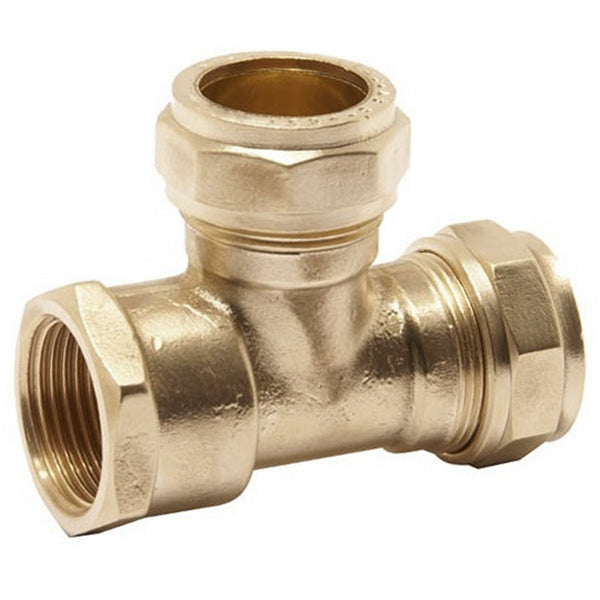 "15mm x 15mm x 1/2"" Compression Female Iron End Tee - Plumbing and Heating Supplies UK"