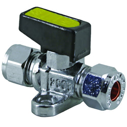 8mm Compression Chrome Mini Lever Gas Ball Valve with Fixing Bracket - Plumbing and Heating Supplies UK