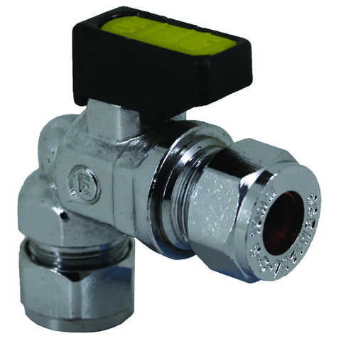 10mm Compression Chrome Mini Lever Bent 90 Degree Gas Ball Valve - Plumbing and Heating Supplies UK