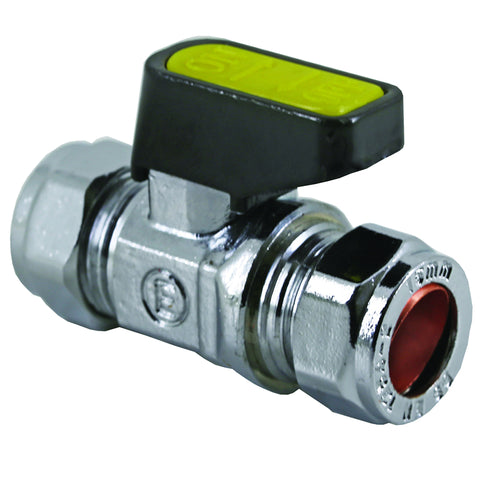 15mm Compression Chrome Mini Lever Gas Ball Valve - Plumbing and Heating Supplies UK