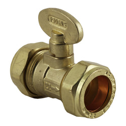 15mm Compression Brass Gas Isolation Valve - Plumbing and Heating Supplies UK