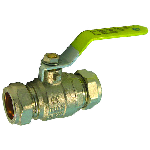 28mm Compression Lever Gas Ball Valve - Yellow Handle - Plumbing and Heating Supplies UK