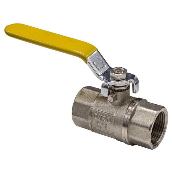 Lever Gas Ball Valve Female to Female - Yellow Handle - Plumbing and Heating Supplies UK