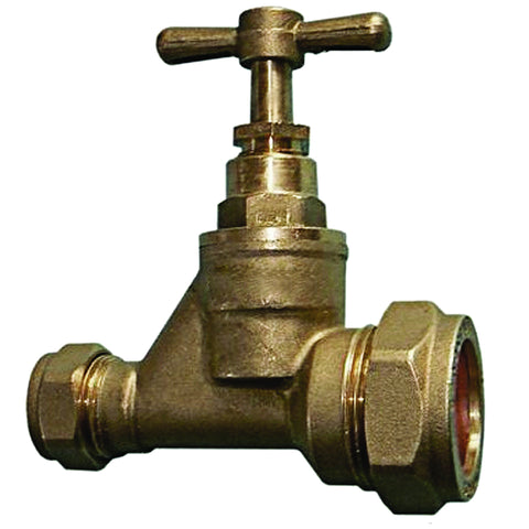 25mm x 15mm Compression MDPE Alkathene Water Main Stopcock / Stop Tap Straight and Reducing - Plumbing and Heating Supplies UK